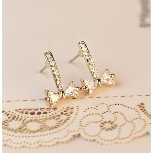 可愛百搭鋯石蝴蝶結氣質耳釘耳環