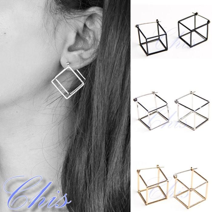 Chis Store ~3D 結構四方形耳環~簡約極簡風正方形方框鏤空立體線條曲線耳掛耳飾