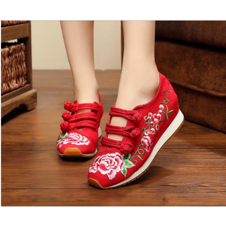 LI178 款老北京布鞋女繡花鞋民族風牛筋底旅遊 休閒厚底內增高鞋女單鞋