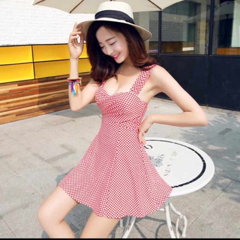 韓國女泳衣連衣裙平角式