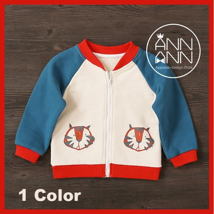 ~ANNANN ~男女童外套秋款純棉毛圈小老虎紅藍白拼接外套棒球服~AN082802 ~