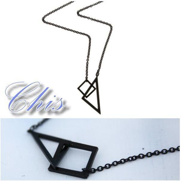 Chis Store ~原宿風簡約幾何項鍊~韓國 復古極簡風三角形正方形長項鍊情侶男女