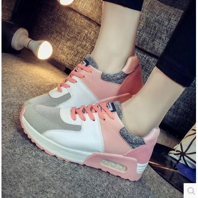 潮 鞋女鞋平底厚底氣墊鞋透氣休閒學生跑步鞋板鞋單鞋