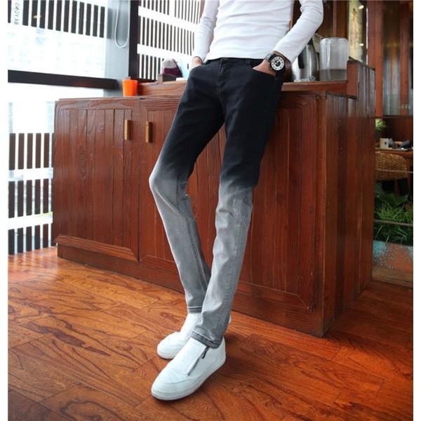 修身潮男士小腳褲彈力鉛筆褲潮烏白漸變牛仔褲丹寧長褲