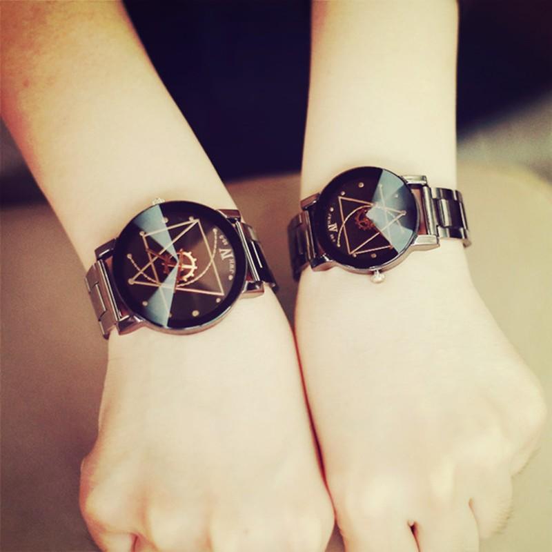 ulzzang 防水原宿簡約鋼帶潮流 男表女表學生情侶石英手錶