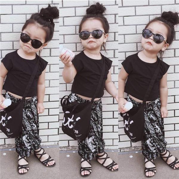 ~五碼專區~2017 夏新品 女童寶寶短款t 恤大象飛鼠闊腿褲兩件套兒童套裝潮