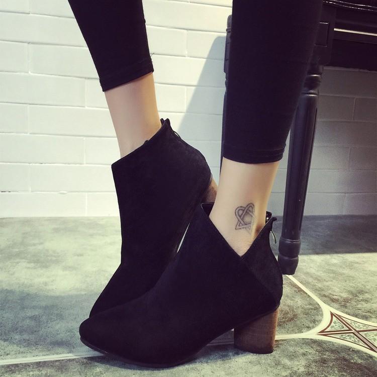 粗跟短靴高跟女單靴尖頭及裸靴真皮靴子磨砂女靴馬丁靴
