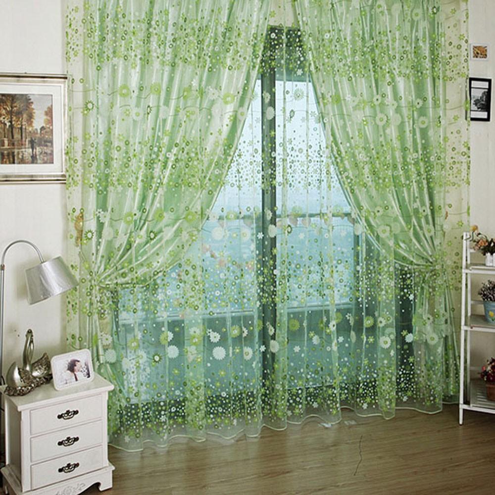 多色 雙層全半遮光透光窗簾窗紗飄窗落地有內襯可愛花朵圖案門視窗房間裝飾客廳臥室兒童房臥室陽