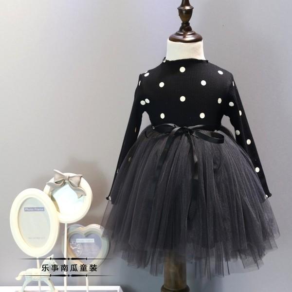 ~耐心等候~女童連衣裙韓國 2017 春裝 波點紗裙公主裙蓬蓬網紗連衣裙