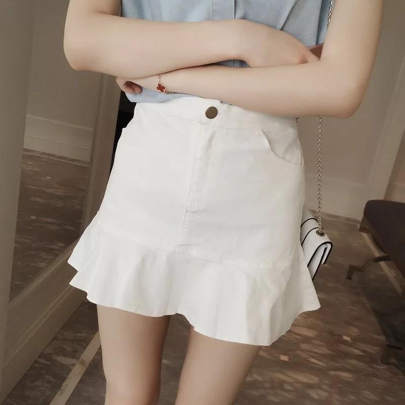秒殺款 高腰顯瘦包臀裙百搭純色修身A 字短裙荷葉邊魚尾半身裙女042