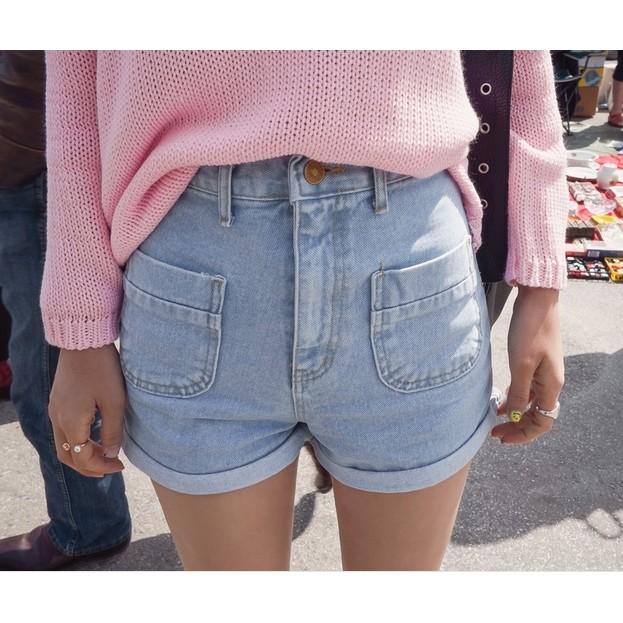 優 款aa 褲反摺牛仔短褲短褲高腰大碼XL 大推款超顯瘦韓妞 寬褲反折捲邊