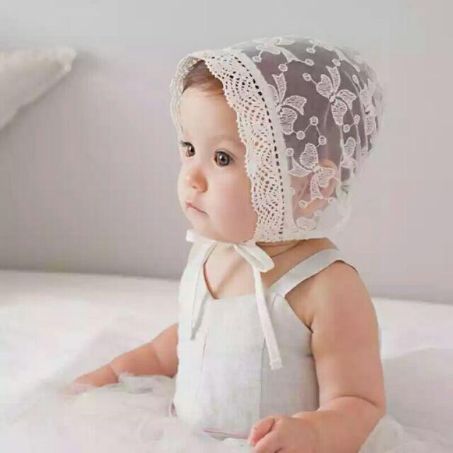 蕾絲公主帽春 寶寶帽子嬰兒帽宫廷帽公主風