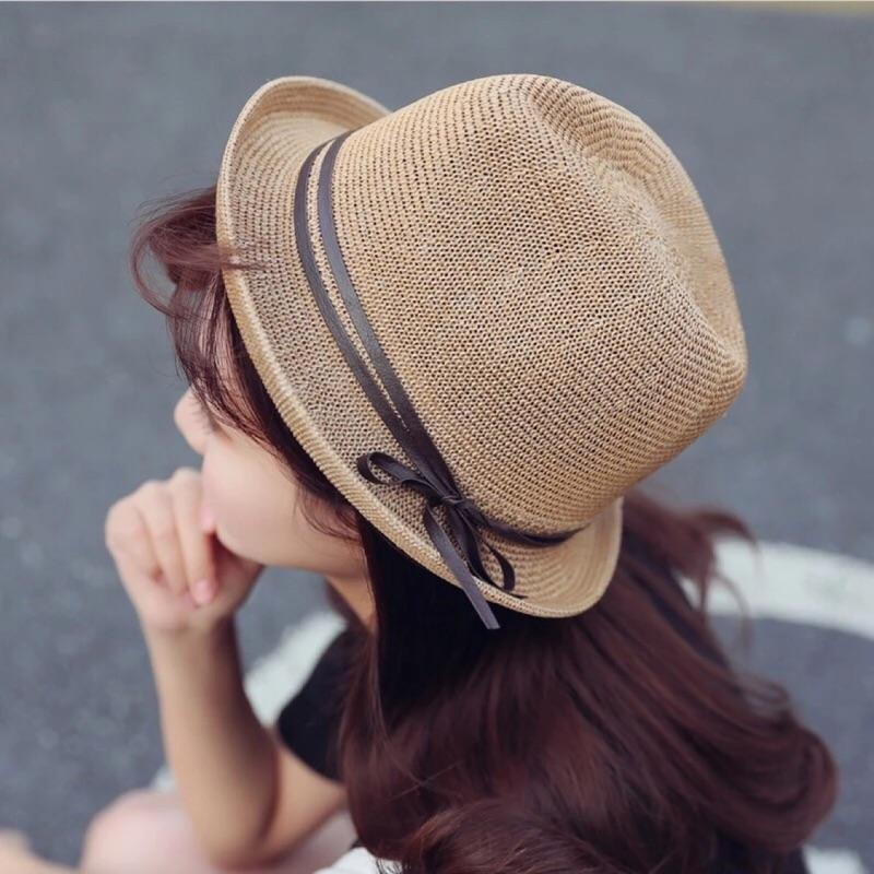 [Dorara ] 韓國版型英倫風帽子蝴蝶結禮帽透氣編織帽爵士帽遮陽帽沙灘帽防曬紳士帽