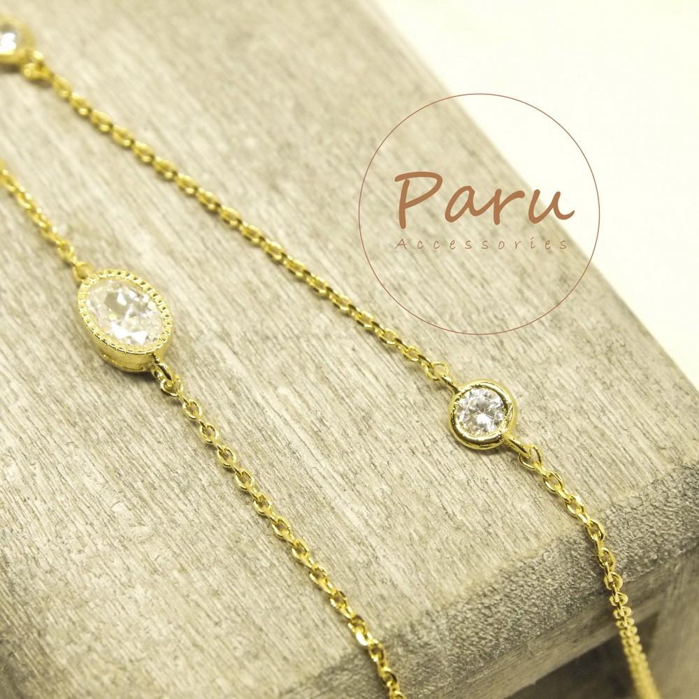 Paru ~金銀雙層橢圓鋯石水鑽手鏈手鍊手環超閃顯瘦 多層次垂墜OL 正妹必買