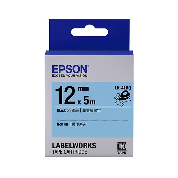 EPSON LK 4LBQ C53S654443 標籤帶燙印12mm 粉藍黑