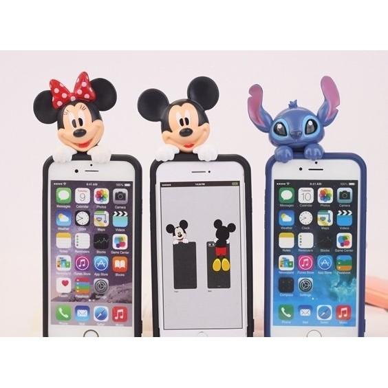 日韓趴趴迪士尼iphone 6 plus 5s 手機殼立體3D 米奇米妮史迪奇矽膠套防塵塞