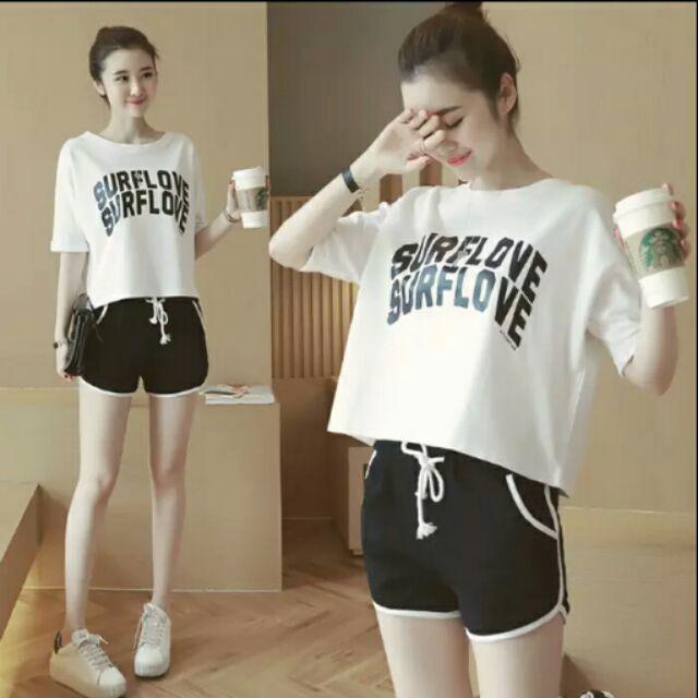 字母T 恤短褲圓領寬鬆休閒 跑步套裝鬆緊