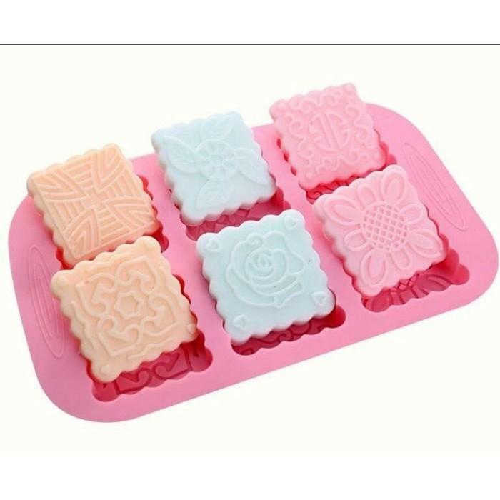 矽膠模具巧克力蛋糕布丁果凍模 皂模 方形6 種不同圖形月餅模小丑魚A264