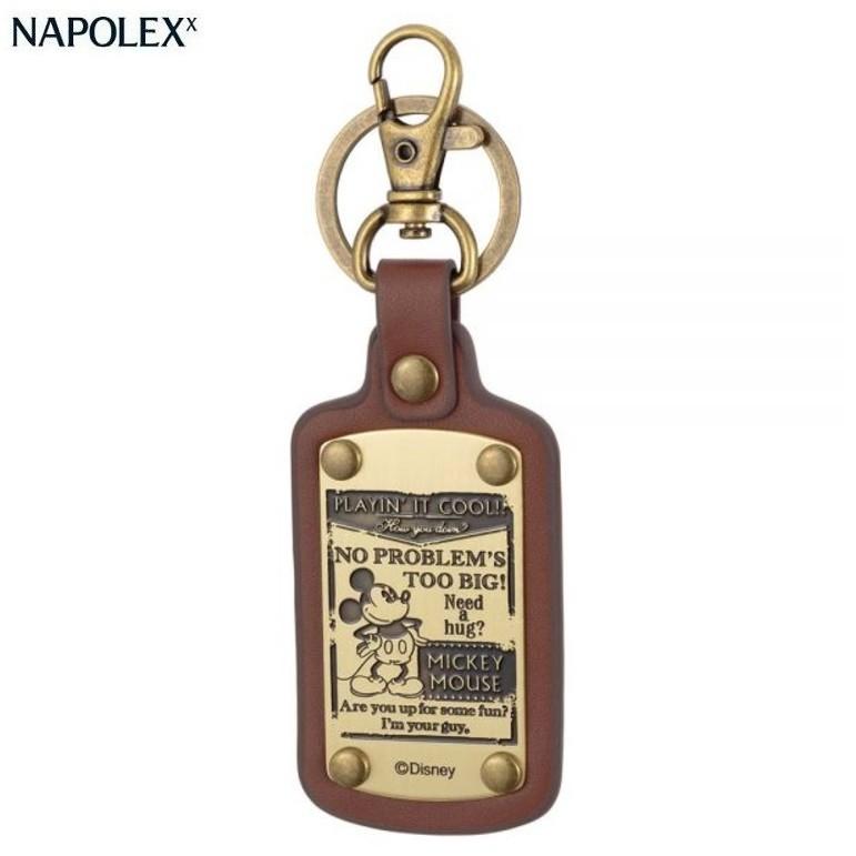 ~禾宜 ~米奇高 鑰匙圈皮革雕刻棕色裝酷WD 334 Mickey Key chain N