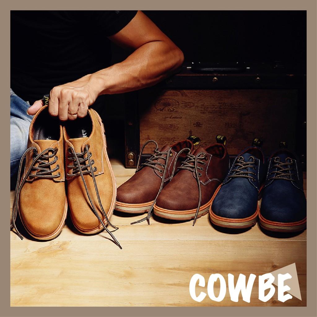 Cowbe 男士休閒英倫馬丁靴低幫大頭皮鞋潮男複古厚底短靴