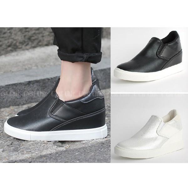 C 'est Chic 韓~X48 ~珠光皮革內增高楔形鞋黑白23 25