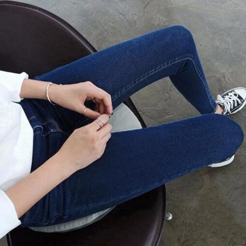 ▲牛仔褲▲春夏款 深藍色高腰牛仔九分褲女彈力修身顯瘦小腳褲子