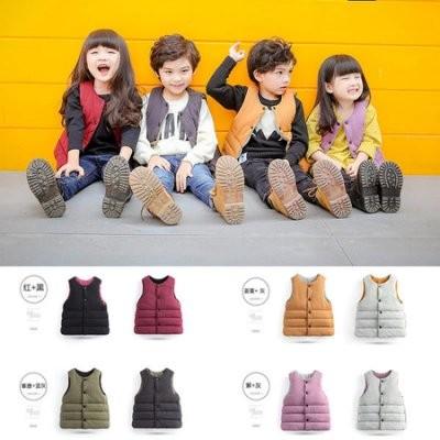 兒童素面雙面兩穿100 棉羽絨背心外套中性款男童女童寶寶馬甲夾克穿會暖更新1 13