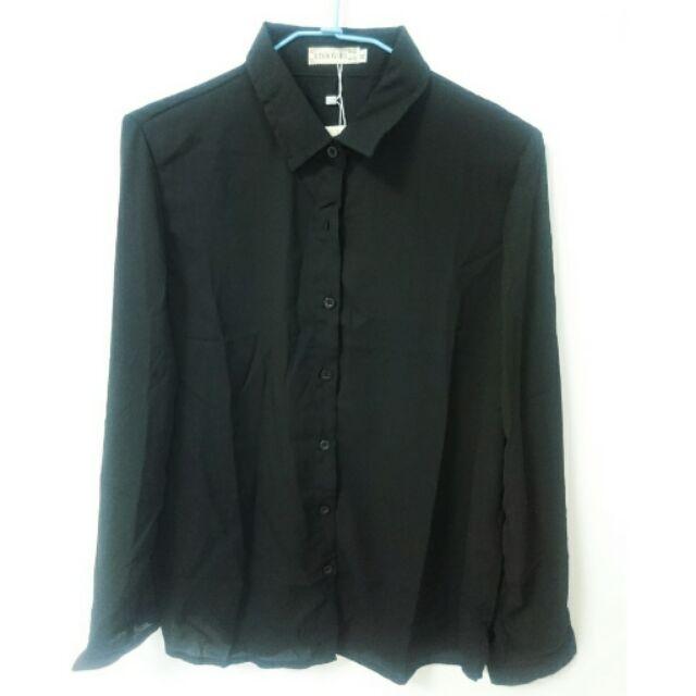 長袖雪紡薄襯衫黑色