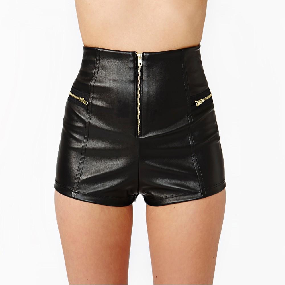 女裝 短褲熱褲仿PU 皮面料拉鏈裝飾高腰包臀修身剪裁 百搭短褲高腰緊身性感短褲