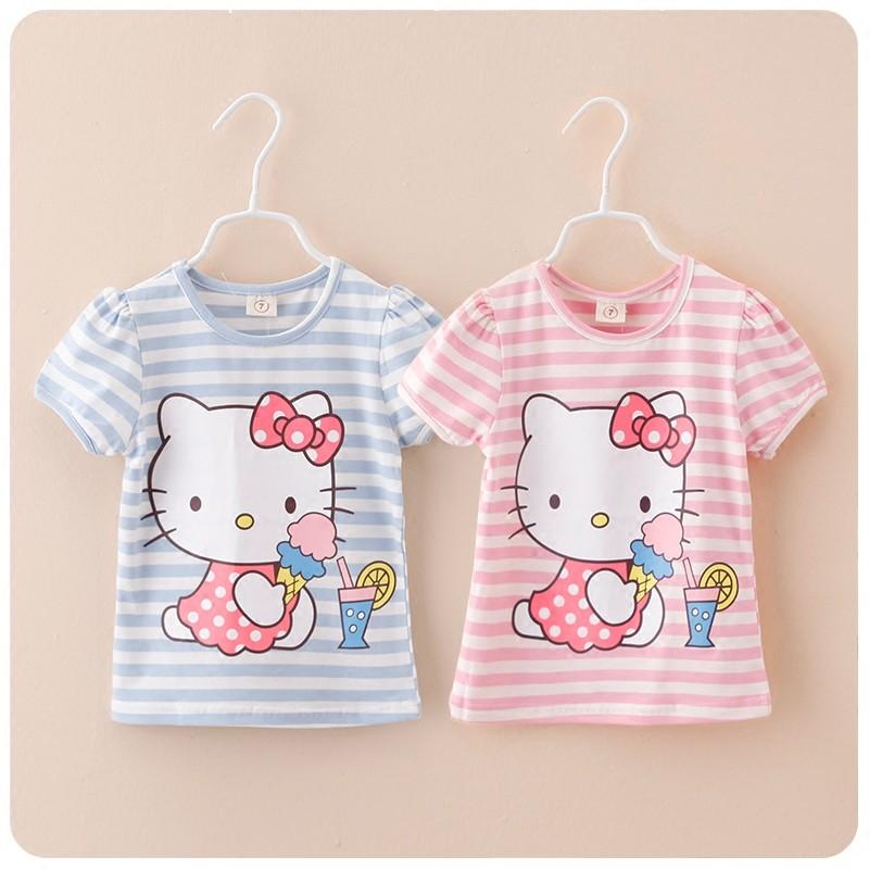 2016 女童 可愛卡通T 恤兒童條紋圓領上衣 加