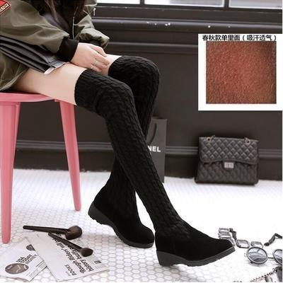 過膝長靴女靴高筒靴瘦腿彈力靴 靴毛線內增高長筒靴磨砂過膝靴