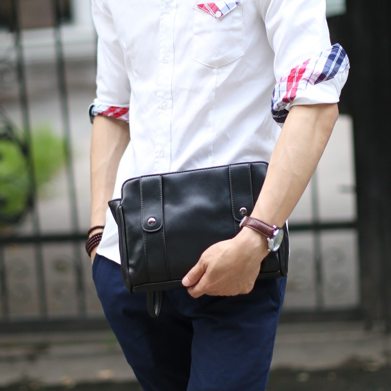 男士手包瘋馬皮男包手拿包 品牌大容量手抓包潮夾包男生包包名片夾短夾錢包公事包休閒包包信封包