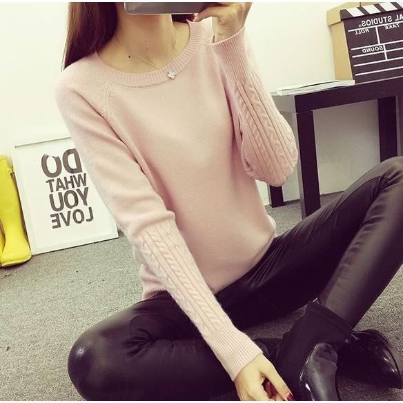 ✨ 粉紅色超柔軟麻花壓紋花紋 彈力圓領毛衣 女裝純色素面百搭針織衫短款上衣打底衫內搭衣