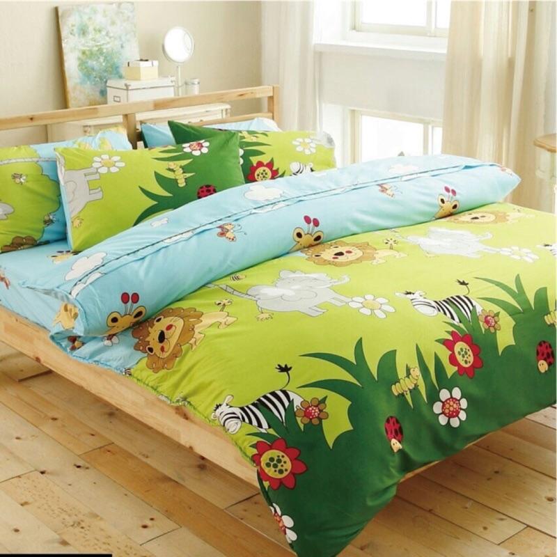 [來成寢具]森林王國天絲絨舒柔棉薄床包、涼被、兩用被、薄被套四件組雙人、雙人加大、雙人特大