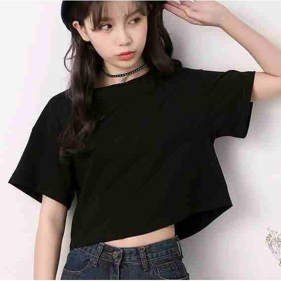 當下大賣 廠家直銷純白色t 恤女短款短袖寬鬆露肚臍棉質圓領 露臍裝黑色夏上衣