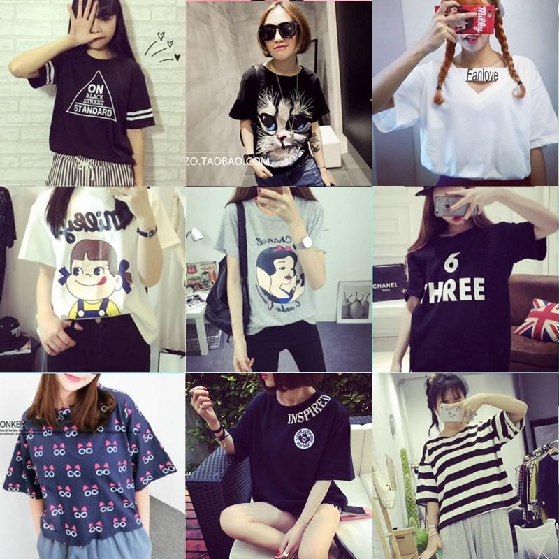 夏裝 學生少女短袖t 恤女韓范大碼寬鬆卡通半袖女打底小衫