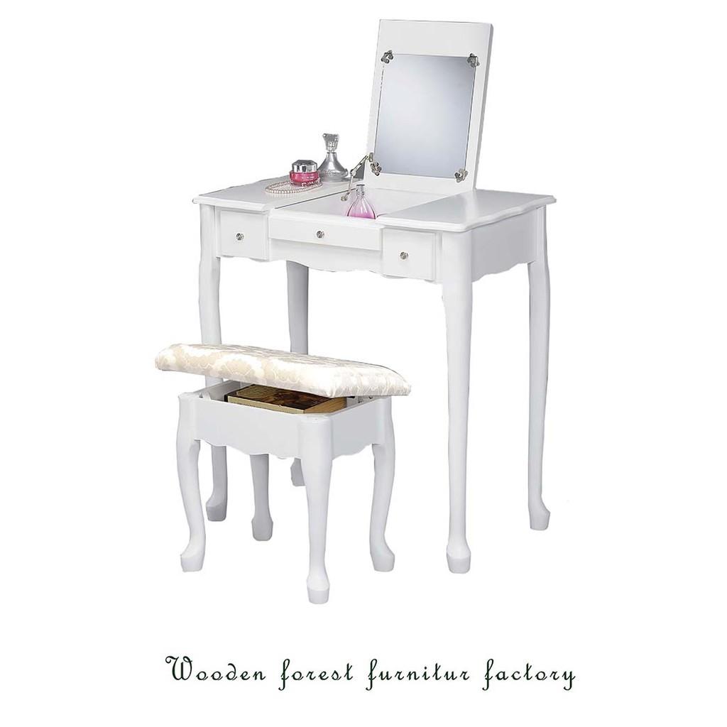 ~森林小工匠~掀蓋化妝桌椅組化妝桌椅組化妝桌化妝椅桌子椅子房間 木製 白色