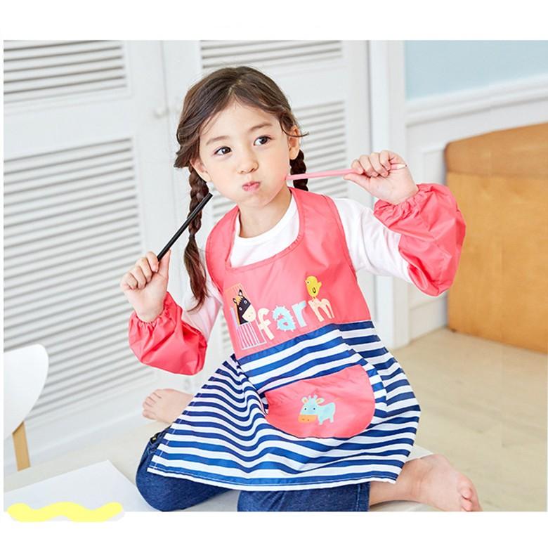 韓風童品男女童畫畫衣男女童防水反穿衣美術書法畫畫衣吃飯衣卡通圖案畫畫衣