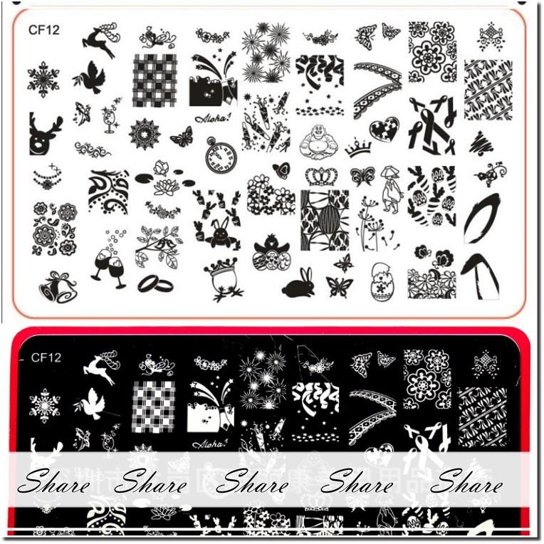 美國指甲彩繪轉印鋼板CF 刻紋深線條細緻買5 送印章刮板重複 貼花DIY 彩繪 指甲彩繪貼