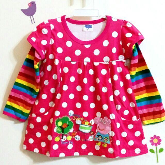 粉紅豬小妹英國佩佩豬女童純綿粉彩色假二件彩虹條紋袖公主上衣
