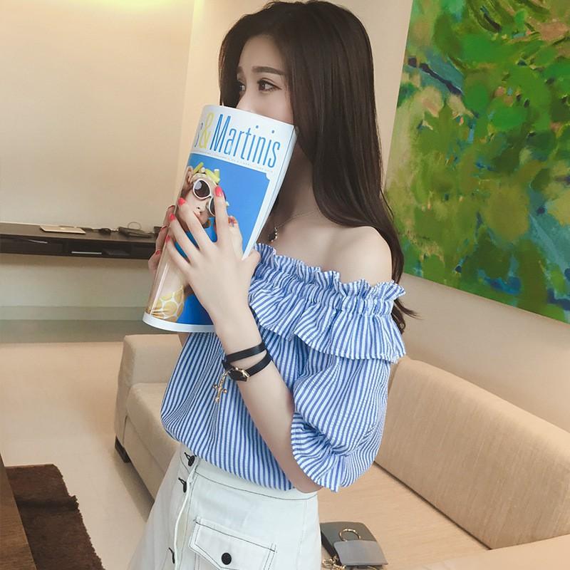 ❤ 實拍❤夏裝短袖藍白豎條紋襯衫女性感甜美一字領露肩泡泡袖上衣