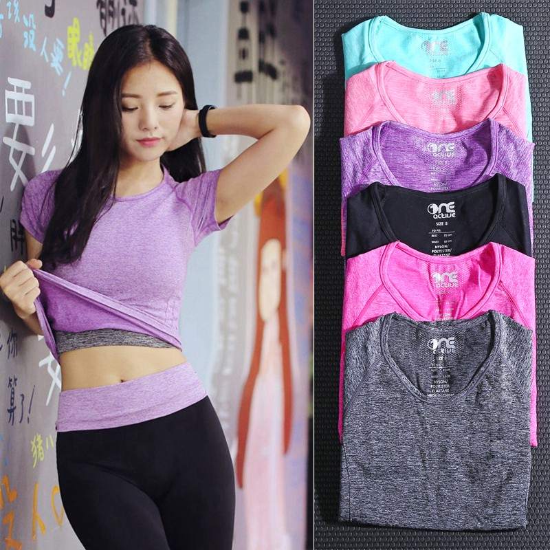 短袖女圓領健身瑜伽訓練服緊身透氣排汗速乾跑步T 恤