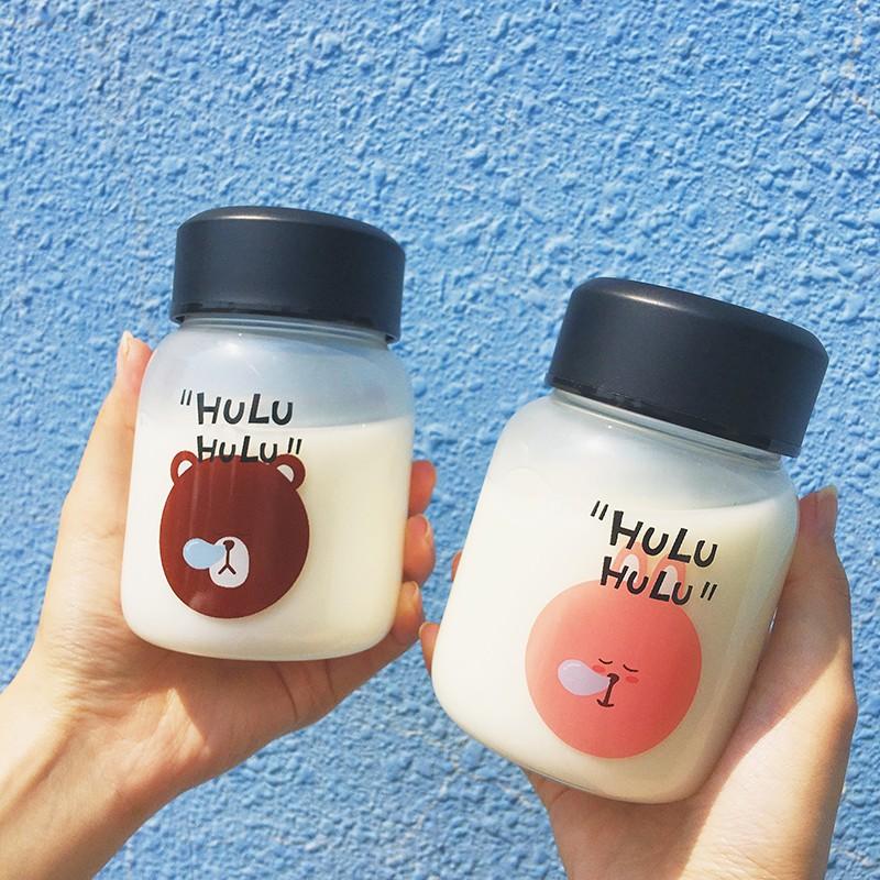 韓國 可愛動物隨手杯200ml HULU 玻璃杯牛奶杯飲料杯韓國可愛HULU 杯子