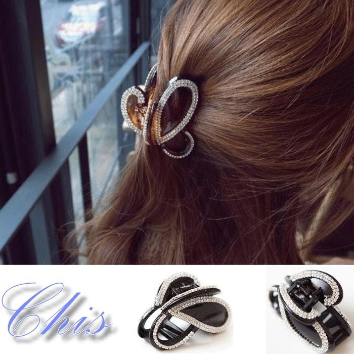 Chis Store ~滿鑽蝴蝶結中大抓夾~韓國 小鑽水鑽蝴蝶曲線鯊魚夾香蕉夾髮夾髮飾髮束