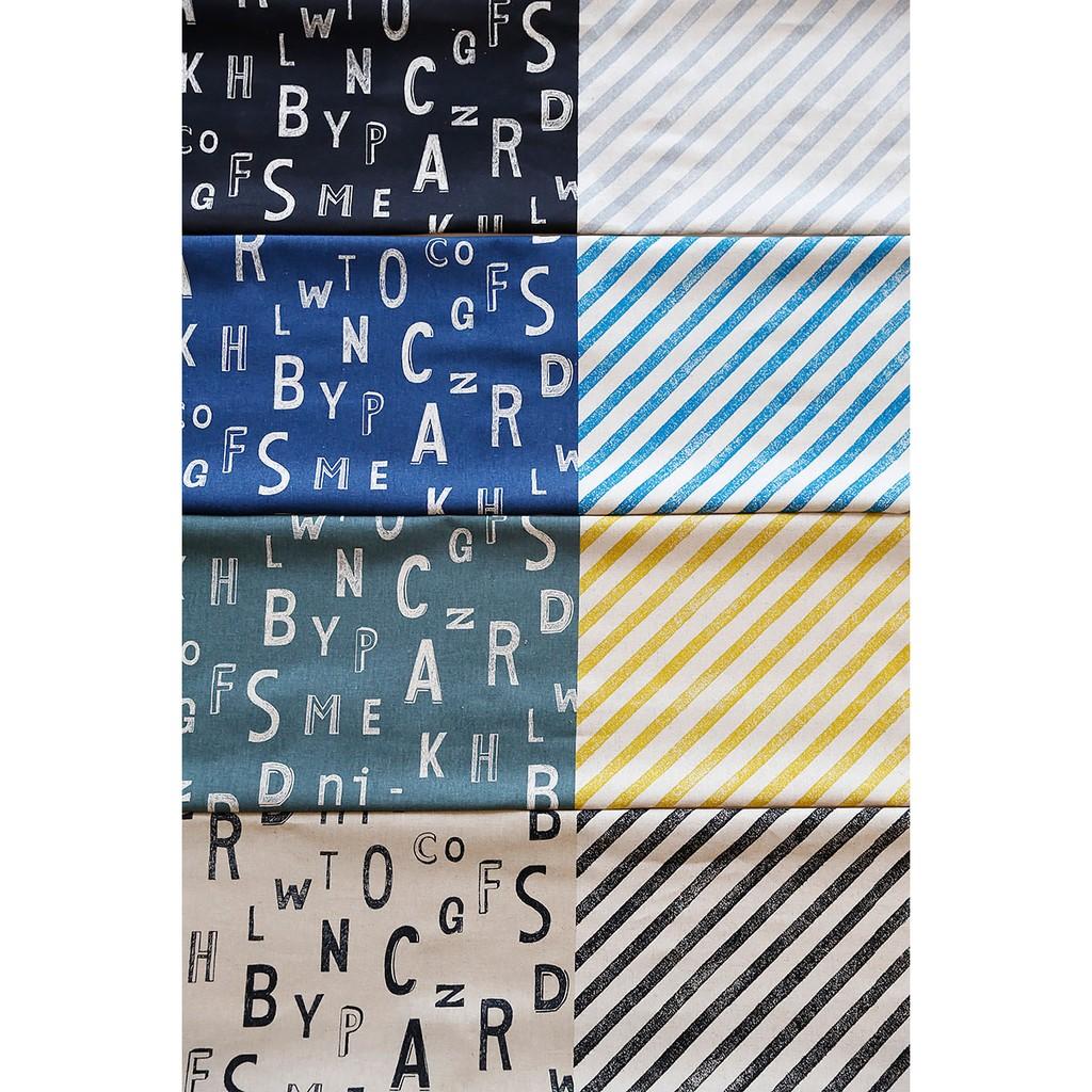 古家悅子字母條紋拼接棉麻布