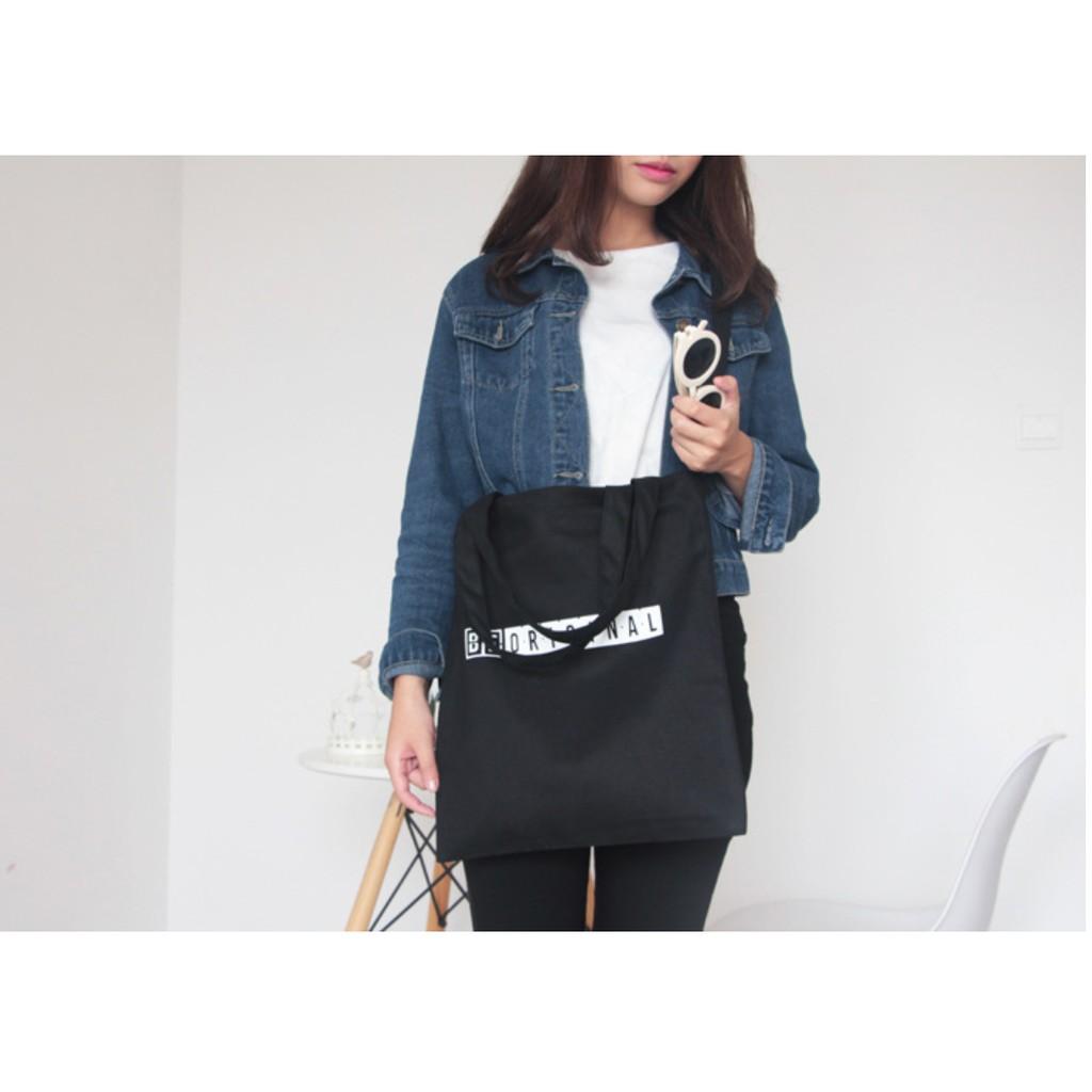 字母環保袋 袋女單肩包帆布手提書包學生書包be original
