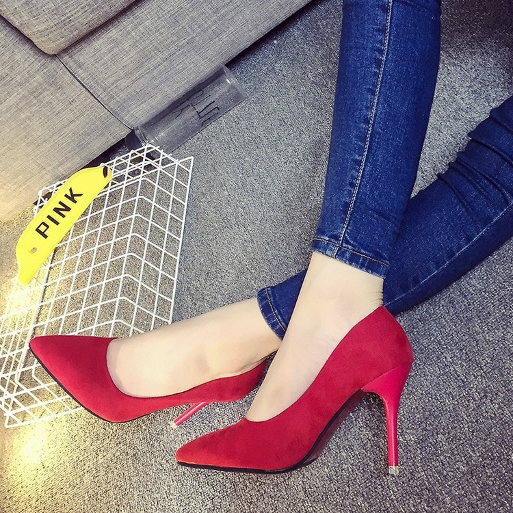 小光頭商店春 性感女高跟鞋細跟尖頭絨面單鞋黑色職業鞋甜美淑女鞋子