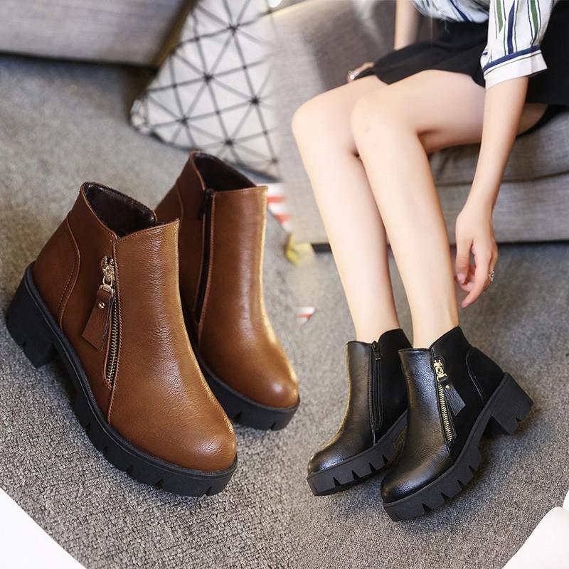 ~靓伊轩~℡2016 磨砂粗跟馬丁靴潮女短靴英倫風高跟女靴短筒秋靴子圓頭及裸靴