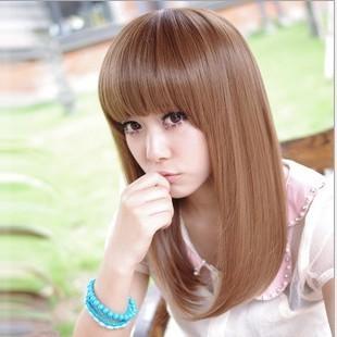 日常原宿齊瀏海中長髮長直日系棕色亞麻女孩夏天甜美假髮角色扮演cosplay 天藍樹