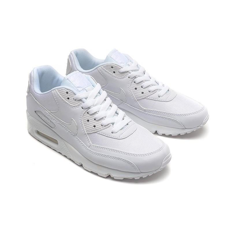 NIKE AIR MAX 90 ESSENTIAL 全白皮革網布 復古慢跑鞋537384